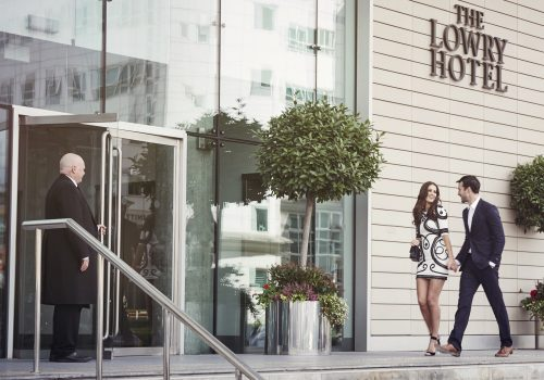 Couple outside The Lowry Hotel